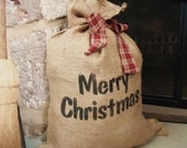 Christmas Burlap Gift Bag, Country Christmas, large burlap bag, primitive Rustic Christmas decor, ready to ship