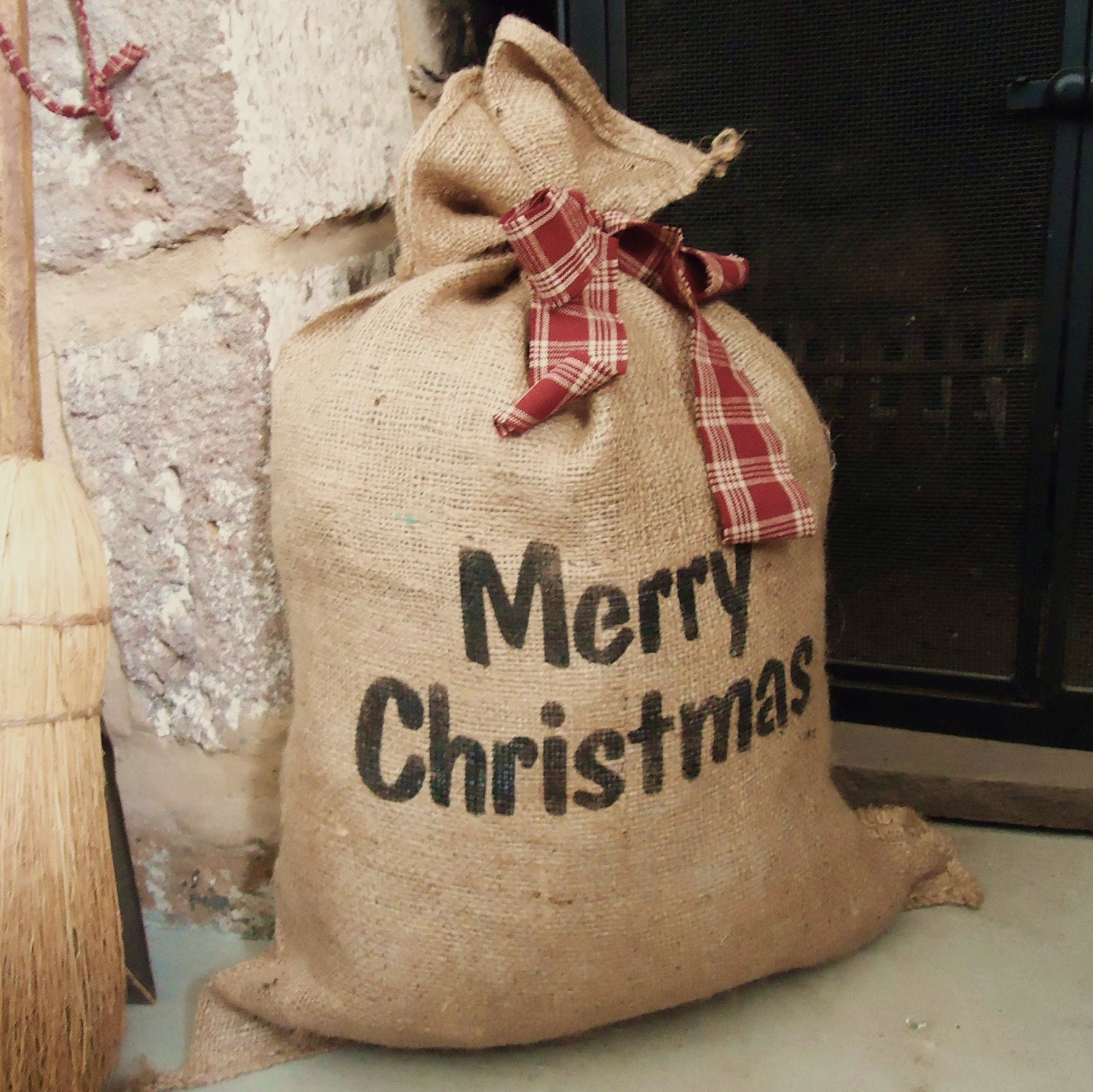 Christmas burlap bag re useable gift wrap country christmas Country christmas gifts to make