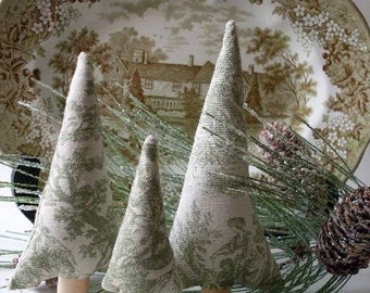 PrimiTive Folkart 3 Green Toile Trees   Beacon Hill Collectibles