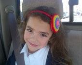 Rainbow blossom, felt headband