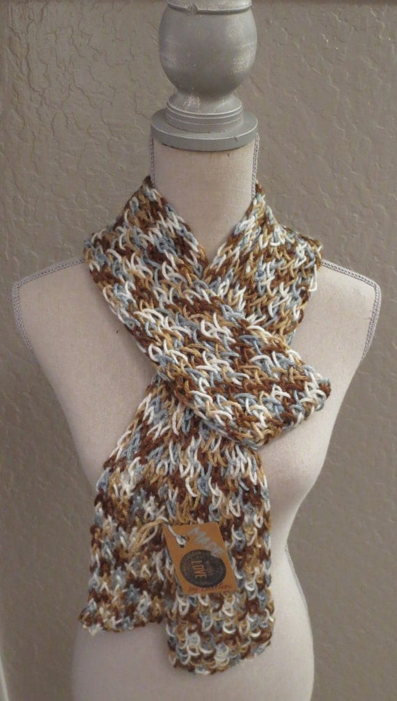 Scarf, Knit, White, Cream, Blue, Brown Blend, Light Weight, Fall, Winter and Spring Accessories - Icy Pond