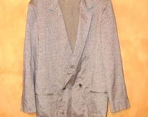 SALE 80s MeNs NeW WaVe SHiNeY SiLVeR PLeaTeD DouBLe BReasTeD SuiT 44R 32 x 34