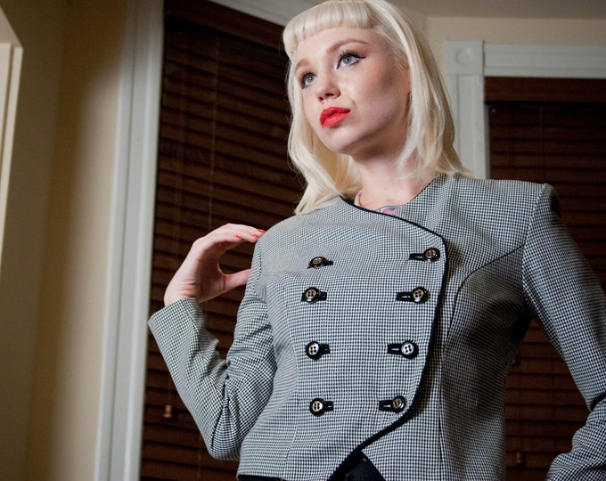 Vintage 90s Cropped Houndstooth Jacket w/ Buttons