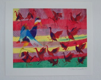 "Red, Blue and White oil pastel birds, giclée print, 10""W x 8""H"