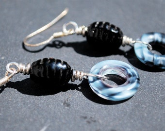 "Vintage Black Glass ""Beehive"" Earrings with Blue and Black Striated Donut Dangle"
