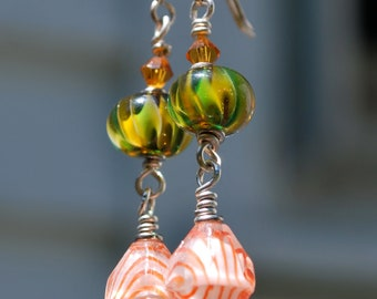 Harlequins Antique Striped Orange Glass and Green and Yellow Lampwork Bead Earrings