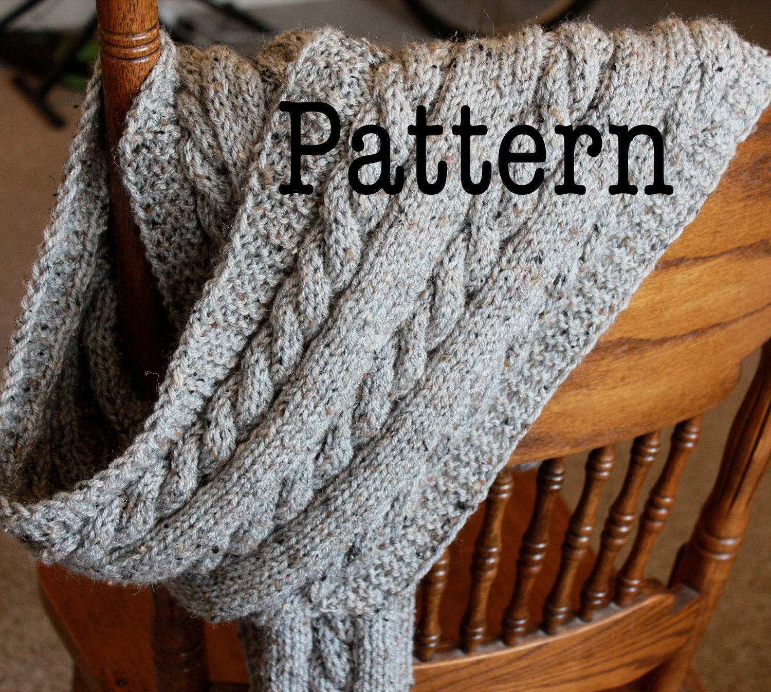 Cable Scarf Knitting Pattern : PDF Knitting Pattern for Cabled Scarf Cable Knit Scarf