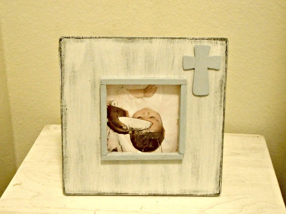 Medium Baptism/Christening/Dedication Picture Frame with Cross