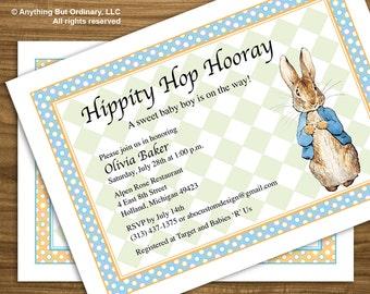 Peter Rabbit Baby Shower Invitation, Vintage Peter Rabbit invite, Printable Baby Shower Invitation, digital file