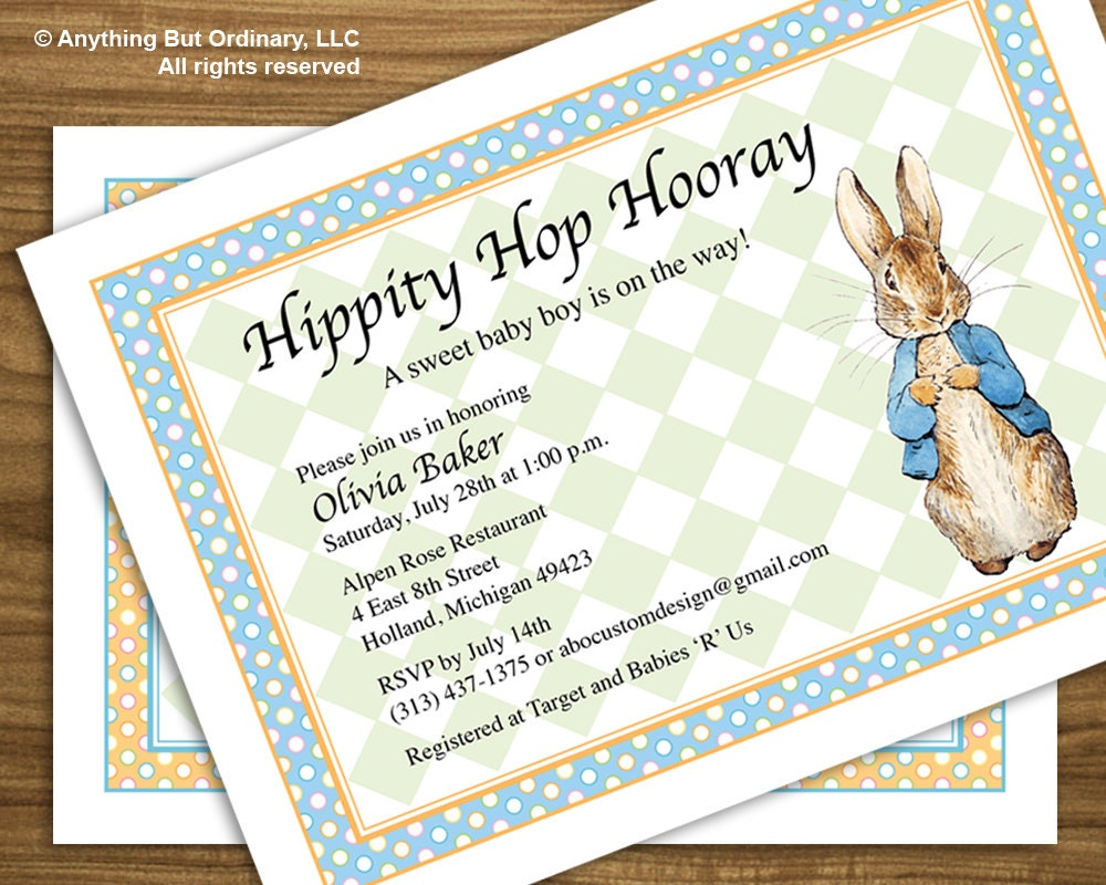 Peter Rabbit Baby Shower Invitation Vintage Peter Rabbit
