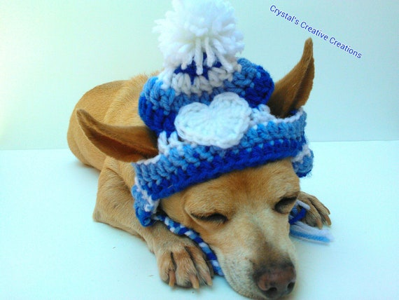 The Blues Dog Hat - Pet Hat - Cat Hat - Dog Beanie - Dog Costume - Pet Costume - Photo Prop - Hand Crochet - Made To Order