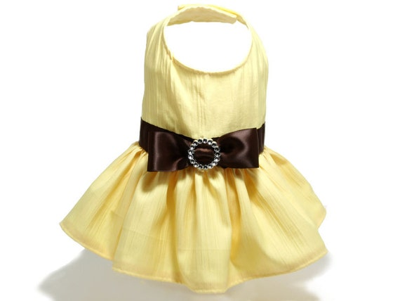 yellow dress with brown belt and bow size small