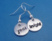 CLEARANCE - Star Wars Inspired - Jedi Knight - A Pair of Hand Stamped Earrings
