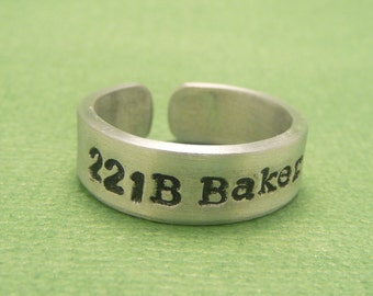 Sherlock Holmes Inspired - 221B Baker St. - Hand Stamped Aluminum Rings