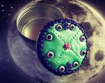 SALE Neon mint and purple evil eye jewelry tin