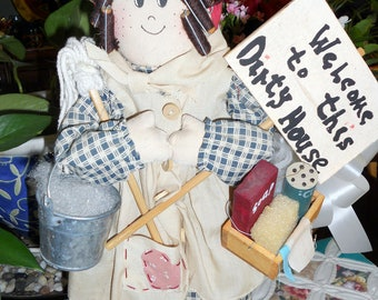 """Vintage 1980's Country Doll with Hair Rollers and Bandana """"Welcome to this Dirty House"""" with 14 1/2"""" Wood Body and Stuffed Arms and Head."""