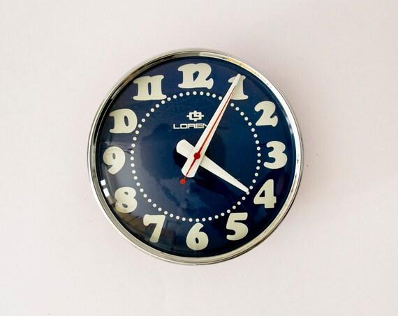 Original Vintage Italian Wall Clock Blue