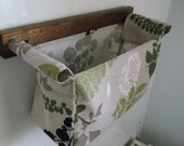 LAST PIECE - Wall hanging storage - with 1 fabric box - beige linen cotton with green and white leaves