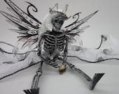 OOAK dead TOOTH FAIRY Goth art doll miniature skeleton ornament dollhouse shelf sitter spider fabric