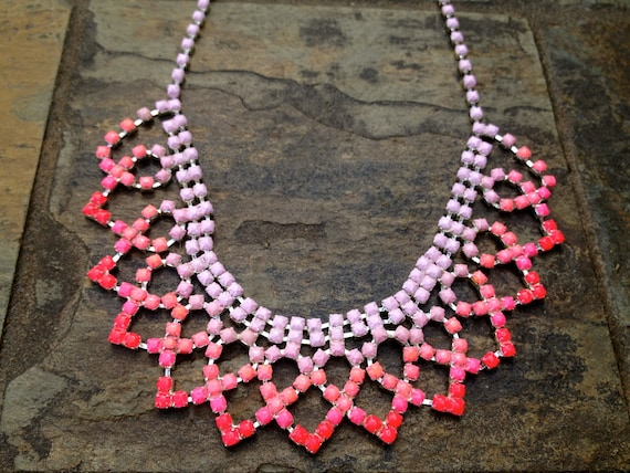 Ombre Pink Neon Hand Painted Rhinestone Necklace