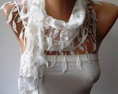 CHRISTMAS, HOLIDAY GIFT, Gifts For Her, Gifts For Women - White Lace Scarf with White Trim Edge Shaped Leaves - Fashion Accessories