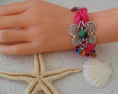 Pink Butterfly Bracelets - Summer Style  Pink Silk and Colorful Beads
