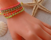 New - Neon Rhinestone Bangle - Bracelet - Macrame - Summer Style - Beach - Summer