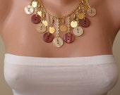 Golden Color - Beige and Brown - Button Necklace with Chain - Speacial Design