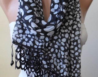 Mother's Day Gift - Black and White - Dalmatian - Silk - Chiffon Scarf with Black Trim Edge - Polka Dot