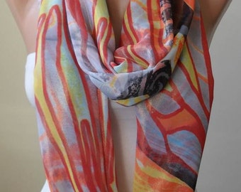 Valentine's Day - Multicolor Infinity - Eternity - Infinity - Circle -  Loop Scarf - Colorful - Chiffon Fabric