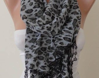 Mother's Day - Gray and Black - Silk - Chiffon Scarf with Trim Edge