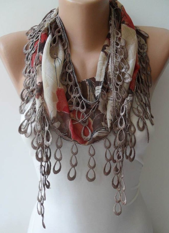 Light Brown Scarf with Light Brown Trim Edge
