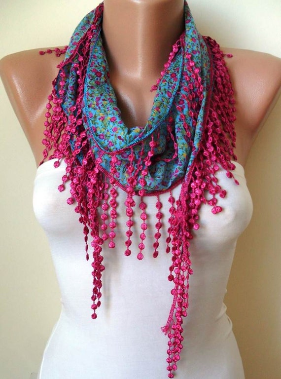 Blue Flowered Scarf with Pink Trim Edge -- Summer Colors