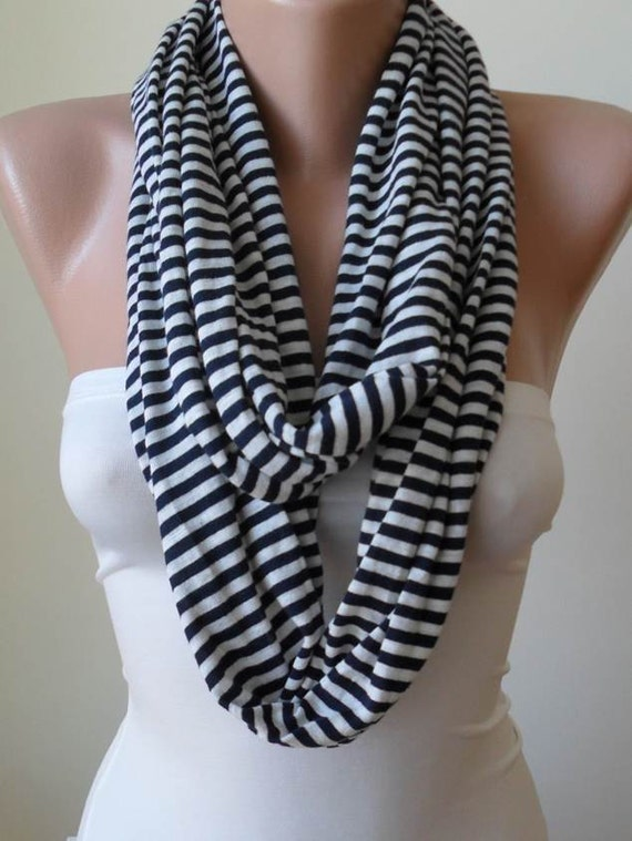 New - Striped Infinty - Circle -  Loop Scarf - Dark Blue and Beige Striped - Combed Cotton Fabric for Summer-