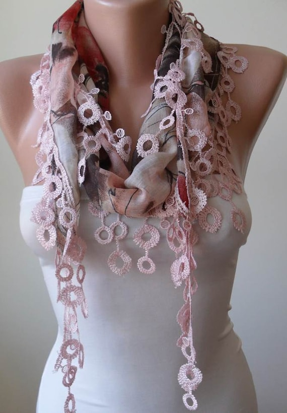 Cotton Scarf with Light Pink Trim Edge