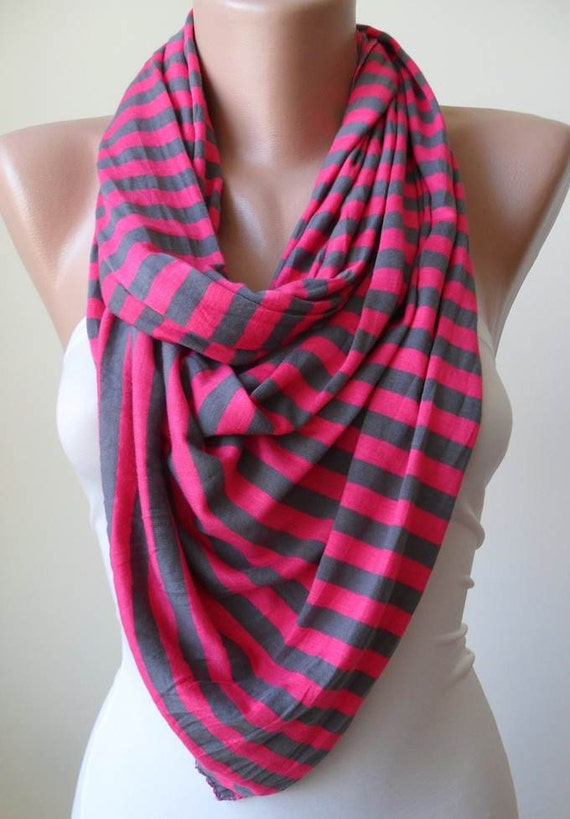 Pink and Grey Scarf - Combed Cotton - Summer Colors