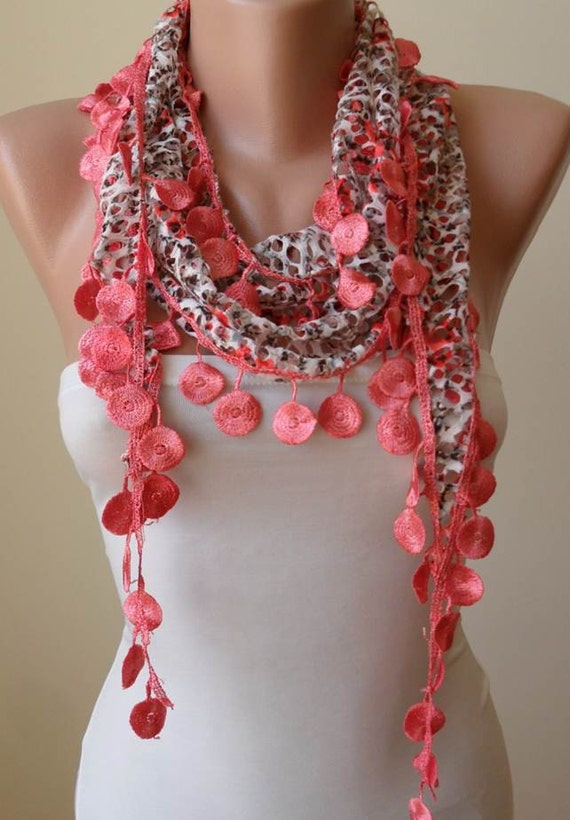 ON SALE - Perfect Gift - Perforated Fabric - Bright Salmon Scarf with Coral Trim Edge - Summer Collection
