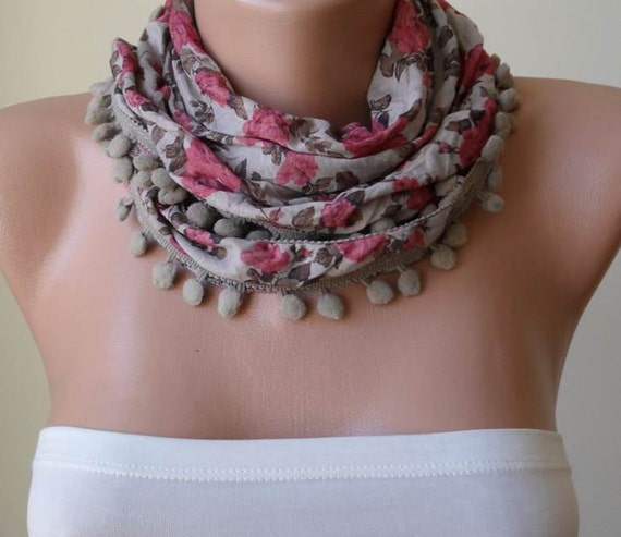 ON SALE - Gift Scarf - Pink and Beige Summer Scarf with Pompom Trim Edge