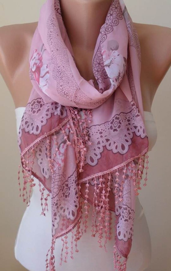 Mothers Day Gift  SilkChiffon Pink Scarf with Pink Trim Edge Mother's Day Scarf