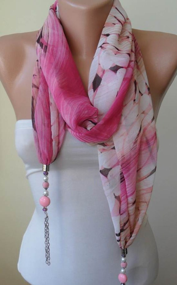 Trendy - Scarf Necklace - Jewelry Scarf - Pink and Beige Chiffon Fabric - with Beads and Chain - Trendy - Fashion