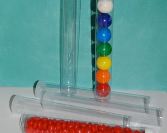 "Clear plastic tubes with caps 7""x1"" - Qty 100 - use for storage - party favors - shower favors - 1"" gumball tubes - quick and easy gifts"