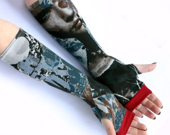 Sale - Urban Arm Warmers Fingerless Gloves Holiday Gifts  - Numbers Print Letters print Gothic Steampunk Noir Goth graffiti