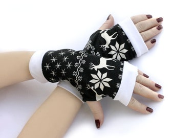 Christmas Gloves Arm Warmers Fingerless Gloves -  Christmas,  Arm Warmers , Snowflakes  Armwarmers Black and White