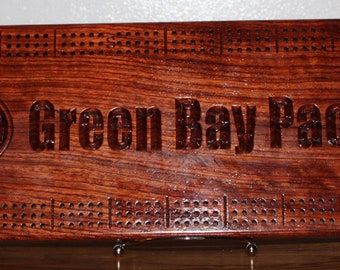 Green Bay Packer Cribbage board Made From African Bubinga Wood