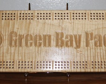 Green Bay Packer Cribbage Board Made From Tiger Striped Maple