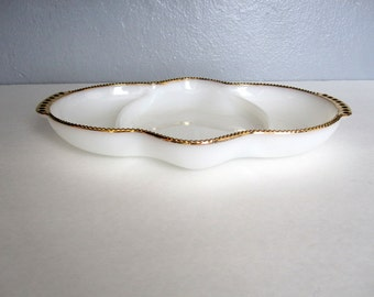 Vintage White and Gold Tray Fire King Oven Ware