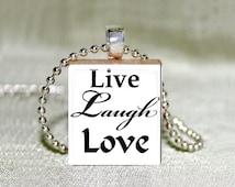 "Scrabble Jewelry - White ""Live Love Laugh 2""- Choose Pendant or Necklace - Live Laugh Love Jewelry -  Live Laugh Love Art Charm - 18"" Chain"