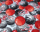 "Zebra and Red Christmas Ornament Print 60"" Round Table Cloth Only"