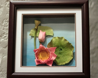 "Lotus, clay flower, 3D oil painting, unique handmade art, 9""x9"""
