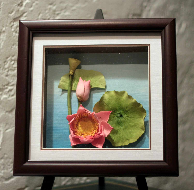 Lotus Clay Flower 3D Oil Painting Unique Handmade Art
